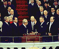Four vice presidents: L-R, outgoing president Lyndon B. Johnson (the 37th vice president), incoming president Richard Nixon (36th), (Everett Dirksen administering oath), incoming vice president Spiro Agnew (39th), and outgoing vice president Hubert Humphrey (38th), January 20, 1969