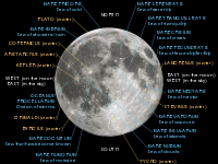 Lunar nearside with major maria and craters labeled