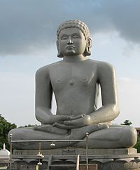 "Statue of Chandraprabha (meaning ""as charming as the moon""), the eighth Tirthankara in Jainism, with the symbol of a crescent moon below it."