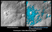 As viewed by Chandrayaan-1's NASA Moon Mineralogy Mapper equipment, on the right, the first time discovered water-rich minerals (light blue), shown around a small crater which it was ejected from.
