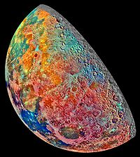 An artificially colored mosaic constructed from a series of 53 images taken through three spectral filters by Galileo' s imaging system as the spacecraft flew over the northern regions of the Moon on 7 December 1992.