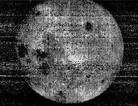First view in history of the far side of the Moon, taken by Luna 3, October 7, 1959.