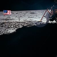 Neil Armstrong working at the Lunar Module Eagle during Apollo 11 (1969)