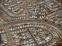 A suburban neighborhood of tract housing within the city of Colorado Springs, Colorado, United States; cul-de-sacs are hallmarks of suburban planning.