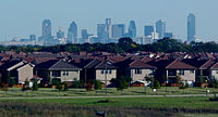Suburban Dallas, Texas seen in the foreground