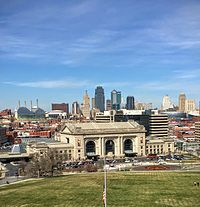Downtown Kansas City and the Crossroads Arts District as viewed from Liberty Memorial in 2016.
