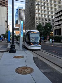 KC Streetcar departing the Library stop heading north to the River Market.
