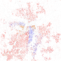 Map of racial distribution in Kansas City, 2010 U.S. Census. Each dot is 25 people: White, Black, Asian , Hispanic or Other (yellow)