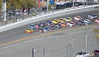 Joey Logano took the lead for the first time on the 47th lap.