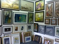 Bangladeshi paintings on sale at an art gallery in Dhaka