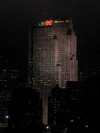 The show originates from the Comcast Building, pictured in 2005 when it was the GE Building, at 30 Rockefeller Plaza in New York City.