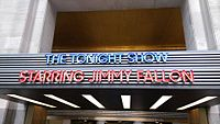The Tonight Show marquee, located at the West entrance of 30 Rockefeller Plaza at 1250 6th Avenue