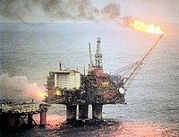 Since the 1970s oil production has helped to expand the Norwegian economy and finance the Norwegian state. (Statfjord oil field)