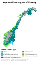 Köppen climate classification types of Norway