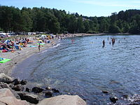Sandefjord is a resort town which has Norway's highest number of annual cloud-free days.  Langeby Beach, 2006.