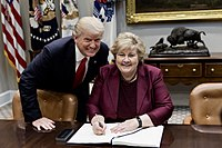 Prime Minister of Norway Erna Solberg (since 2013) and U.S. President Donald Trump in 2018.