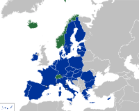 Members of the European Free Trade Association (green) participate in the European Single Market and are part of the Schengen Area.