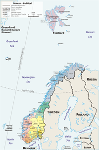 An administrative map of Norway, showing the 19 fylker from before the 2019–20 reform, the Svalbard (Spitsbergen) and Jan Mayen islands, which are part of the Norwegian kingdom