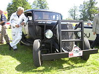 1934 Ford stock car racer with reinforcement in the front