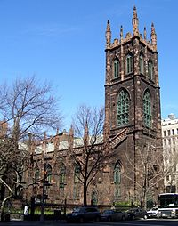 The First Presbyterian Church in Manhattan, New York City, seen from the south down Fifth Avenue