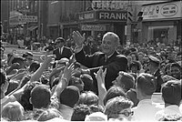 Johnson greeting a crowd, 1966
