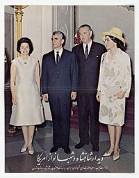 Shah of Iran Mohammad Reza Pahlavi and Queen Farah Pahlavi with the Johnsons on their visit to the United States