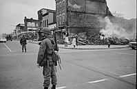 Aftermath from a race riot in Washington D.C., April 1968