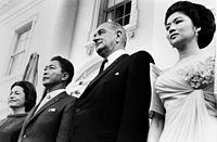 Lady Bird Johnson and LBJ with Ferdinand and Imelda Marcos on September 12, 1966