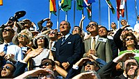 Johnson (center left) and Vice President Spiro Agnew (center right) witness the liftoff of Apollo 11.