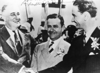 President Franklin D. Roosevelt, Governor James Allred of Texas, and Johnson, 1937. Johnson later used an edited version of this photo, with Allred airbrushed out, in his 1941 senatorial campaign.