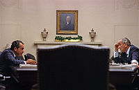President Johnson meets with Republican candidate Richard Nixon in the White House, July 1968.