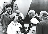 Vice President Johnson visiting Finland in September 1963; here seen with Mrs. Johnson, while Urho Kekkonen, the President of Finland, welcomes them.