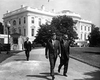 President Kennedy and Vice President Johnson outside the White House prior to a ceremony