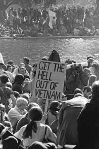 Vietnam War protestors march at the Pentagon in Washington, D.C. on October 21, 1967. Support for the war was dropping and the anti-Vietnam War movement strengthened.