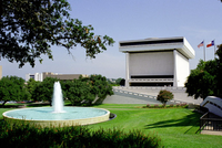 Front view of the Lyndon Baines Johnson Library and Museum located on the campus of the University of Texas in Austin, Texas