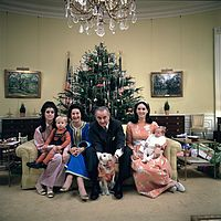 Johnson with his family in the Yellow Oval Room, Christmas 1968