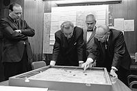 Walt Whitman Rostow shows President Lyndon B. Johnson a model of the Khe Sanh area in February 1968