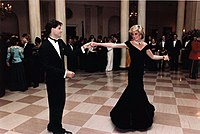 """Travolta dancing with Diana, Princess of Wales at the White House in 1985; the dress she wore came to be known as the """"Travolta dress"""""""
