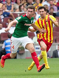 The 2018 transfer of youth graduate Aymeric Laporte (left) brought a revenue of €64 million into the club