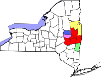 Map of the constituent MSAs within the Albany-Schenectady-Amsterdam CSA:  Albany-Schenectady-Troy  Glens Falls  Hudson  Amsterdam  Gloversville
