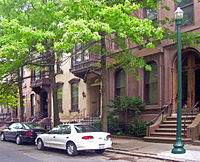 Several brownstones on Fifth Avenue in Troy