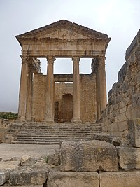 The front of the capitol at ruins of Dougga, another tourist destination, qualified as World Heritage Site by UNESCO in 1997.