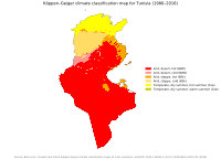 Köppen climate classification in Tunisia. The climate is Mediterranean towards the coast in the north, while most of the country is desert.