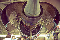 Engine nacelle of a Qantas A380 open for inspection, showing Rolls-Royce Trent 900 components