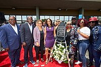 Karen Bass and Gaye's family at the dedication of the Marvin Gaye Post Office in Los Angeles in 2019.