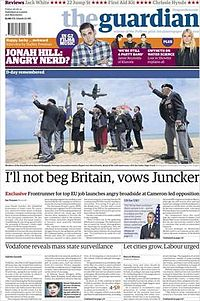 Front page of 6 June 2014 edition in the Berliner format.