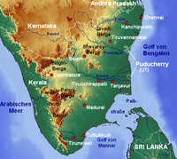 Topographic map of Tamil Nadu