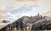 Fort Chipewyan, a trading post and regional headquarters for the Hudson's Bay Company in 1820