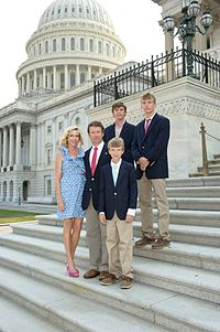 Paul with his family on the Capitol steps.