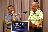 Paul campaigning with his father, Ron Paul, for his 2012 presidential campaign in Waterloo, Iowa, on August 10, 2011.
